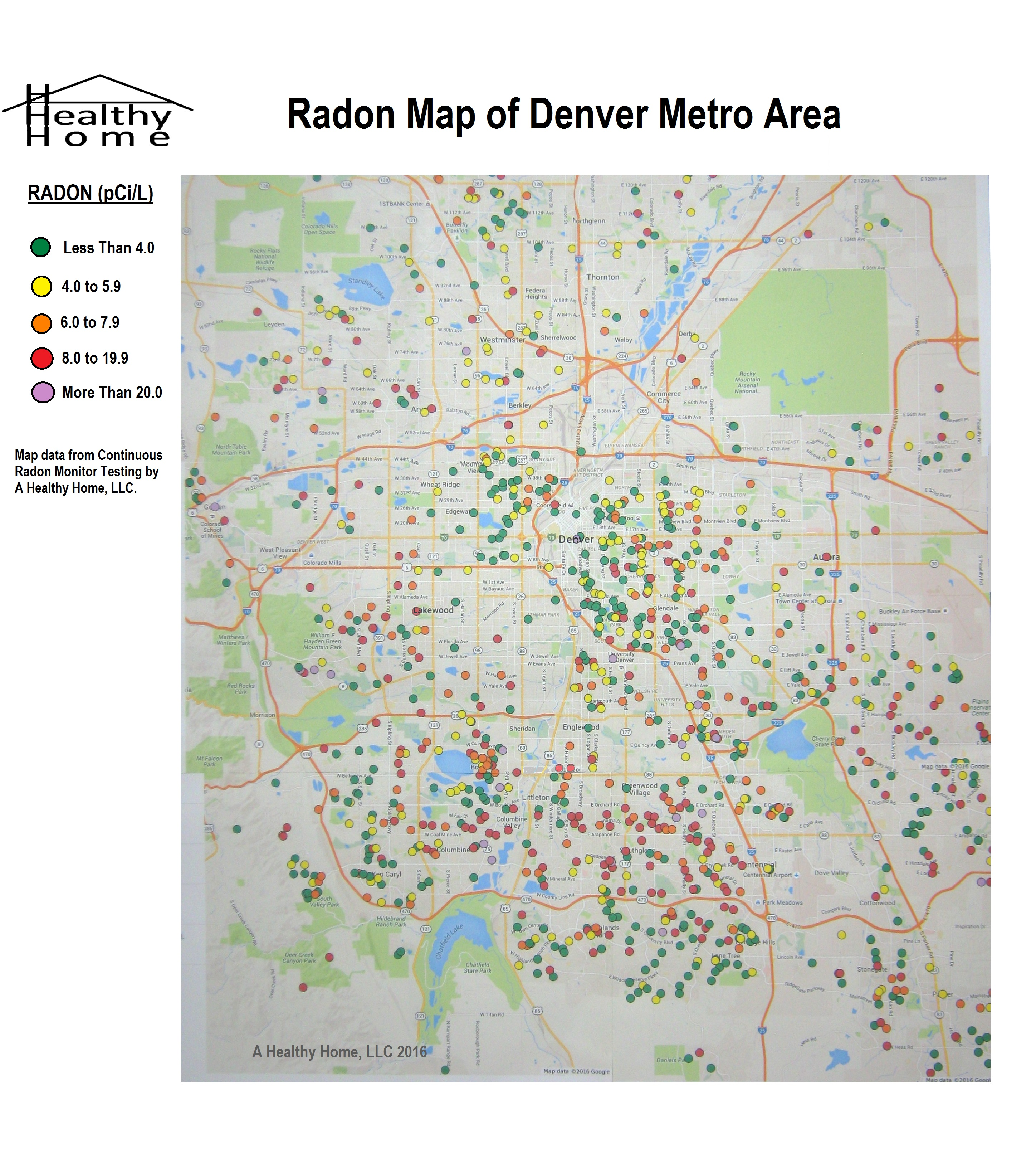 Radon Map of Denver Area - A Healthy Home, LLC on